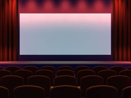 movie screen: 3d render of a cinema screen and seating