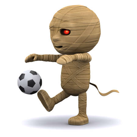 3d render of an Egyptian mummy playing soccer photo