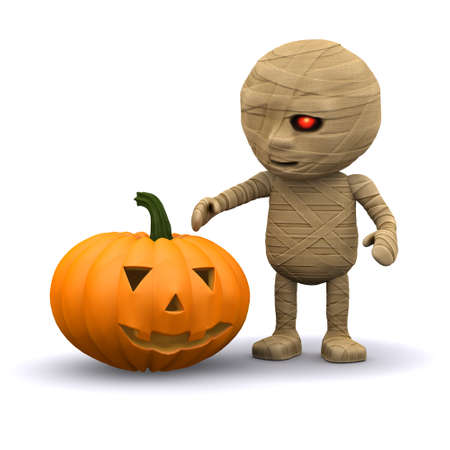 egyptian mummy: 3d render of an Egyptian mummy with pumpkin