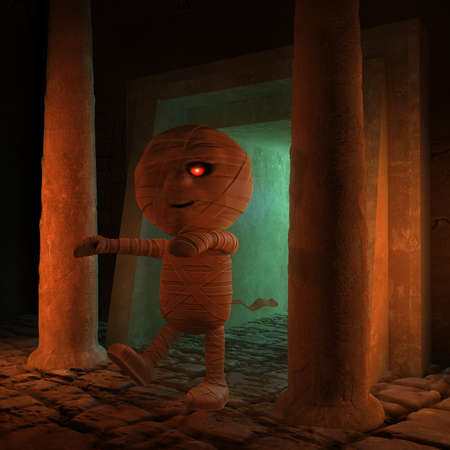 egyptian mummy: 3d render of an Egyptian mummy in a tomb Stock Photo