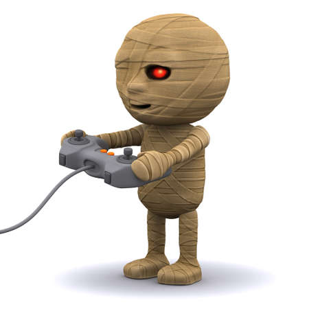 egyptian mummy: 3d render of an Egyptian mummy playing a videogame