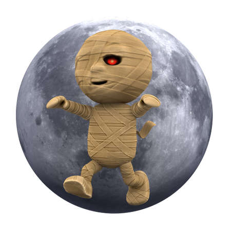 egyptian mummy: 3d render of an Egyptian mummy against a moon backdrop