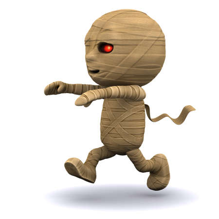egyptian mummy: 3d render of an Egyptian mummy running