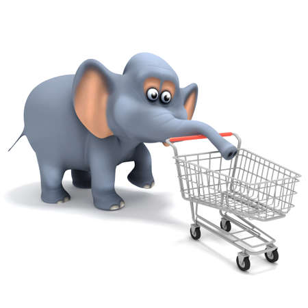 retail therapy: 3d render of an elephant pushing a shopping trolley Stock Photo