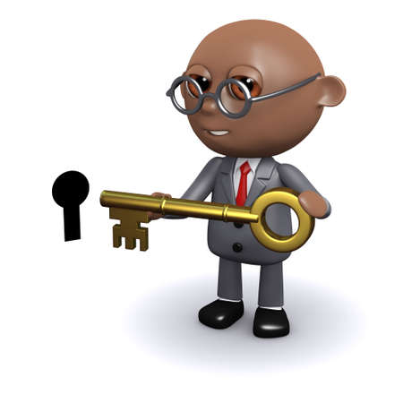 3d render of an African American with a key photo