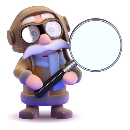 3d render of a pilot with a magnifying glass photo
