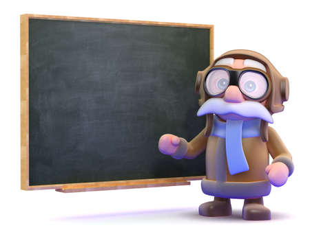 3d render of a pilot next to a blackboard photo