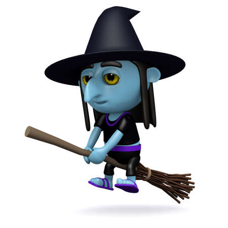 crone: 3d render of a witch on a broomstick Stock Photo