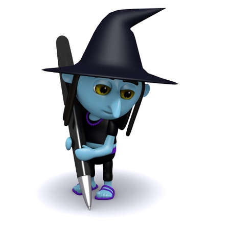 3d witch: 3d render of a witch writing with a pen