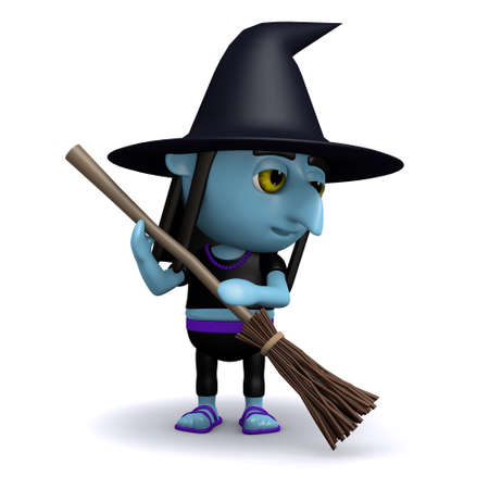 crone: 3d render of a witch sweeping with her broom