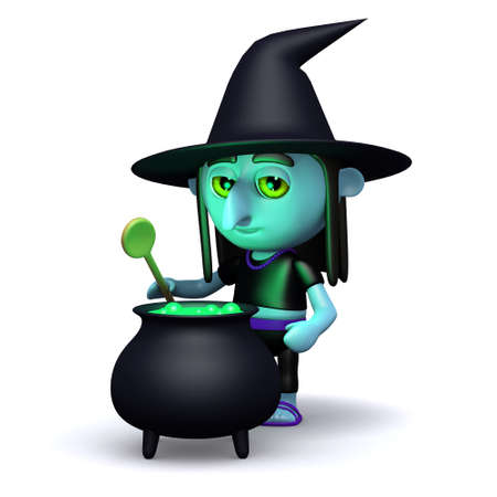 crone: 3d render of a witch at her cauldron
