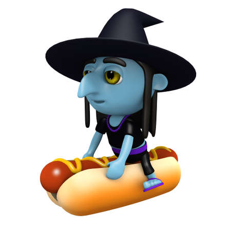 3d render of a witch on a hot dog