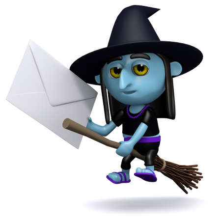 crone: 3d render of a witch riding a broomstick with an envelope in hand
