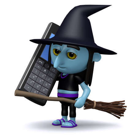 crone: 3d render of a witch chatting on her cellphone