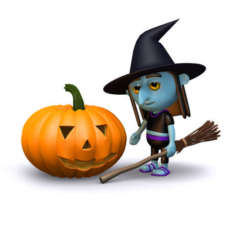 3d render of a witch and a pumpkin