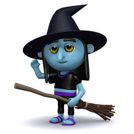crone: 3d render of a witch on her broomstick on the ground