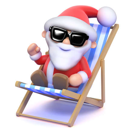 3d render of Father Christmas relaxing in a deck chair photo