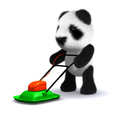 mowing the lawn: 3d render of a panda mowing the lawn with a lawnmower
