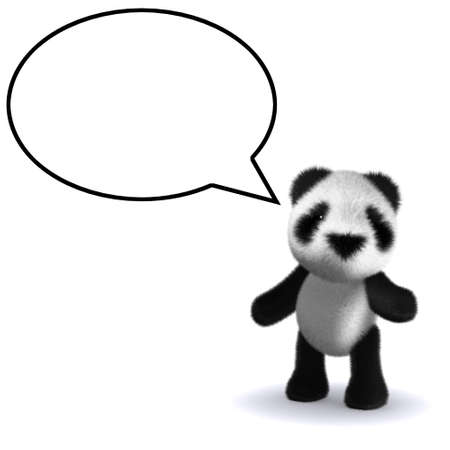 3d render of a panda with speech bubble photo