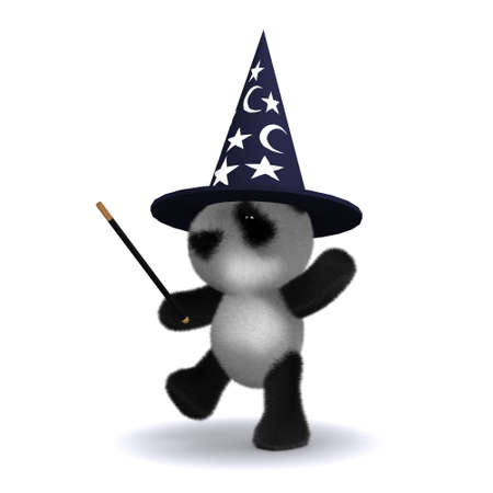 pointy hat: 3d render of a panda magician with wand and pointy hat