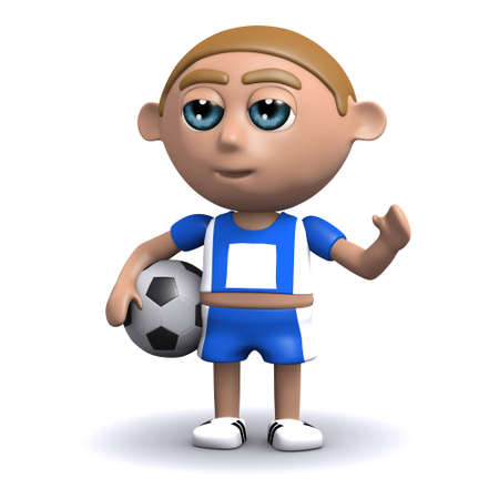 3d render of a soccer player holding the ball photo