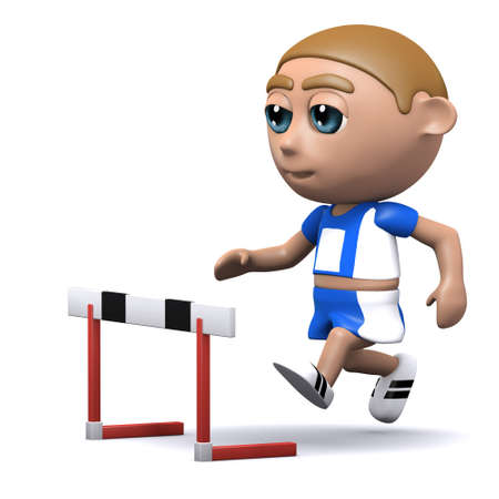 3d render of an athlete approaching the hurdle photo