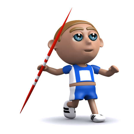 javelin: 3d render of an athlete throwing a javelin Stock Photo
