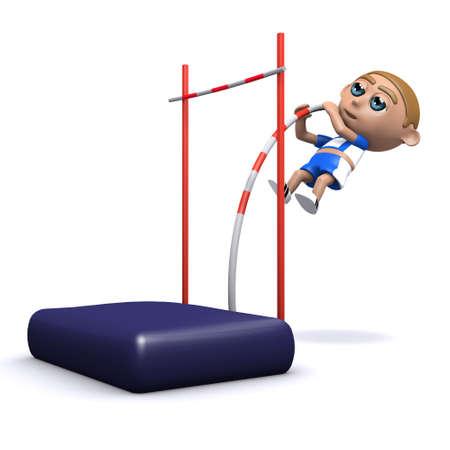 pole vault: 3d render of an athlete doing the pole vault