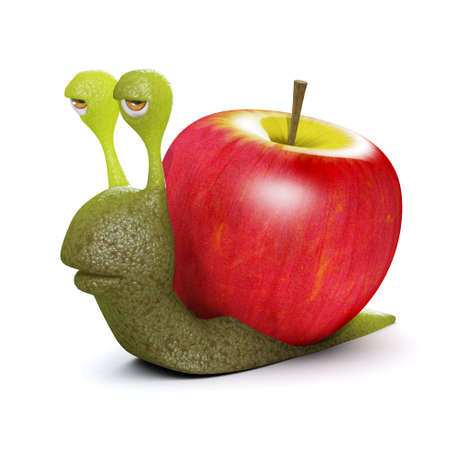slither: 3d render of a snail with an apple instead of a shell