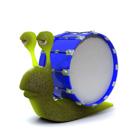slither: 3d render of a snail with bass drum shell
