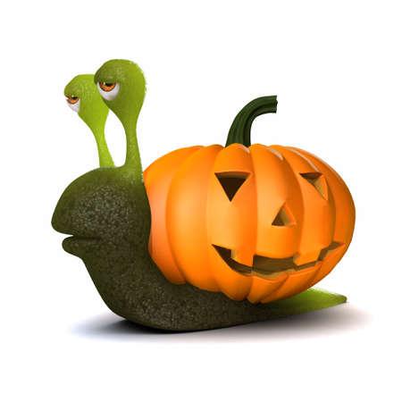 mollusc: 3d render of a snail with a Halloween pumpkin shell