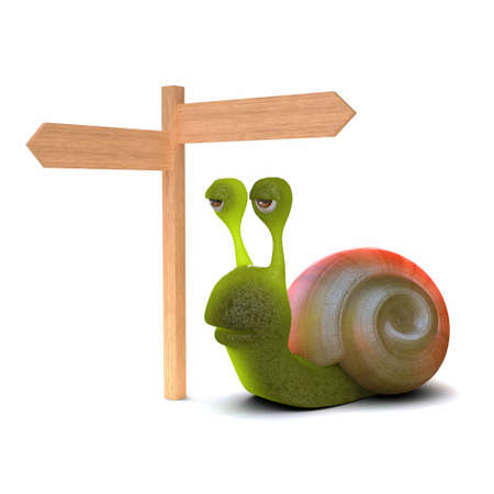 slither: 3d render of a snail at a crossroads signpost