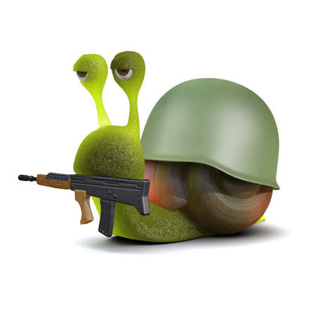 slither: 3d render of a snail dressed as a soldier carrying a rifle in his mouth