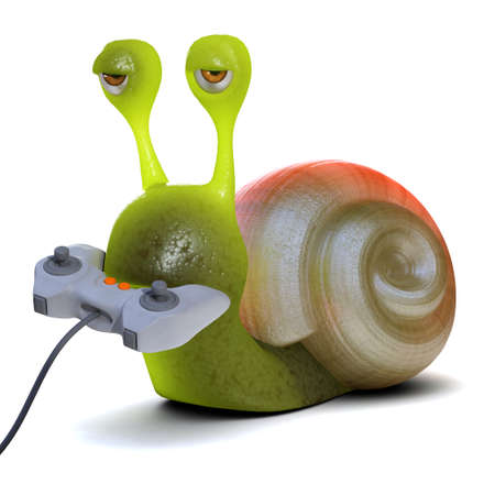 mollusc: 3d render of a snail playing a videogame