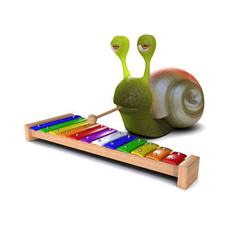 slither: 3d render of a snail playing a xylophone