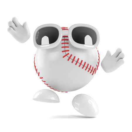 fastball: 3d render of a baseball leaping to catch the ball Stock Photo