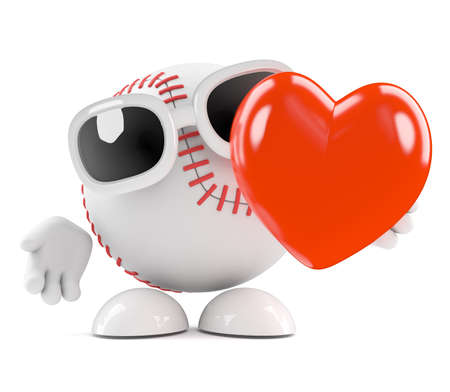 fastball: 3d render of a baseball with a big red heart