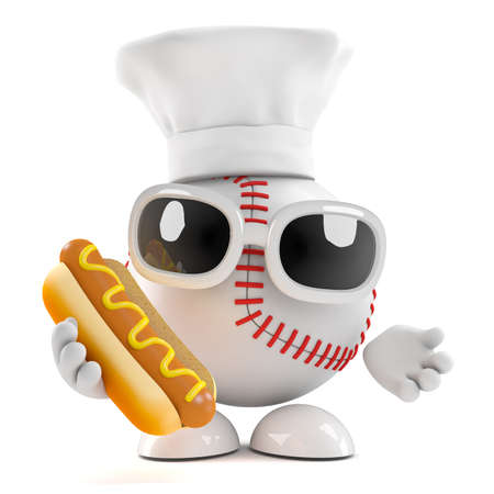 3d render of baseball in chefs hat holding a hotdog photo
