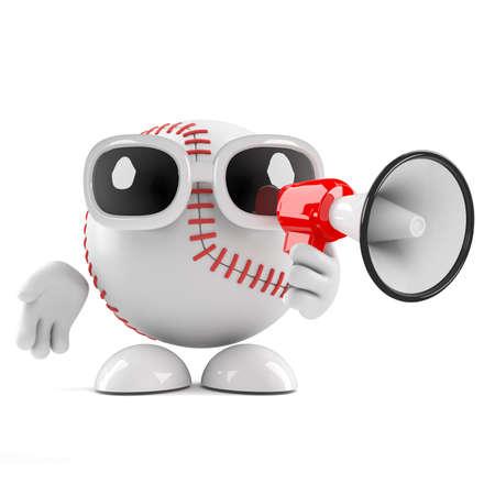 loudhailer: 3d de una pelota de b�isbol con un meg�fono