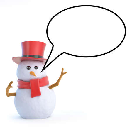 3d render of a snowman in a top hat with a speech bubble photo