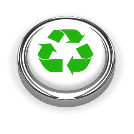 3d render of a green recycle button photo