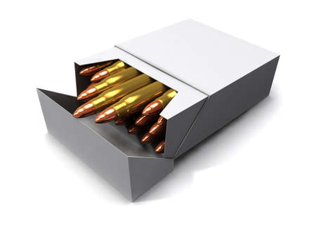 cigarette pack: 3d render of a cigarette pack full of bullets