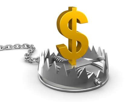 bear trap: 3d render of a gold US Dollar symbol in a bear trap