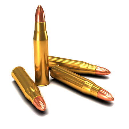 3d render of brass bullets photo