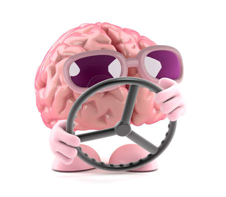 navigating: 3d render of a brain navigating with a steering wheel