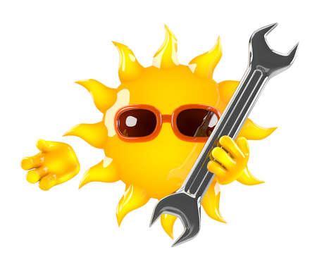 llave de sol: 3d de sol sosteniendo una llave