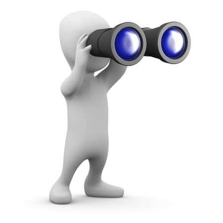 3d render of a little person looking through binoculars photo