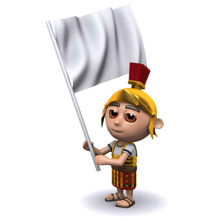3d render of a Roman soldier carrying a white flag photo