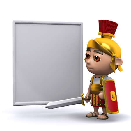 3d render of a Roman soldier and a whiteboard photo