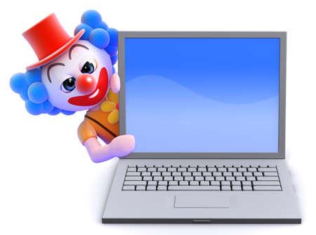 mad: 3d render of a clown hiding behind a laptop